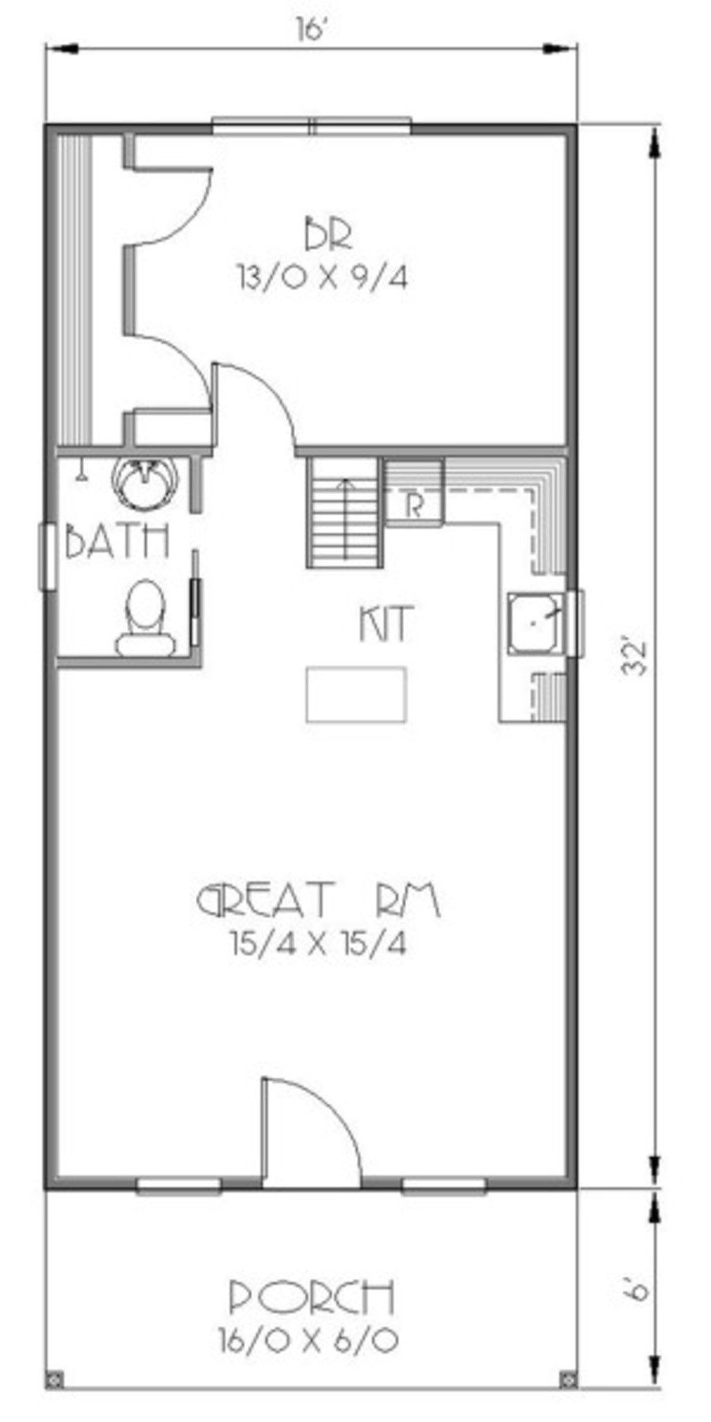 Bungalow style house plan 1 beds 1 baths 812 sq ft plan for Tiny house with main floor bedroom