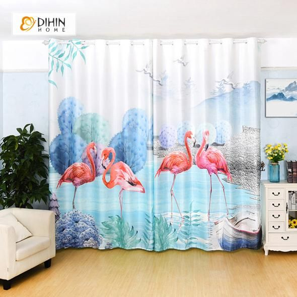 Dihin Home 3d Printed Crane And Tree Blackout Curtains