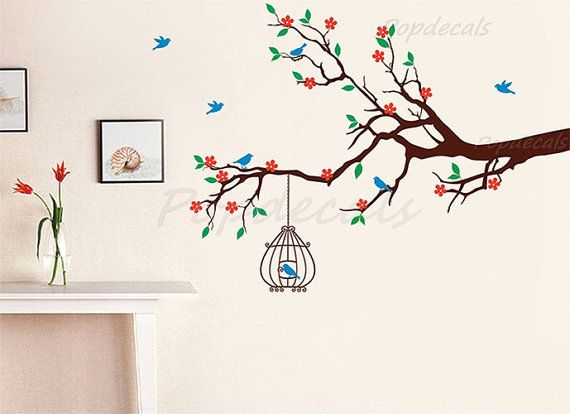 Spring Floral Branch With Birdcage Removable Vinyl Wall Tree