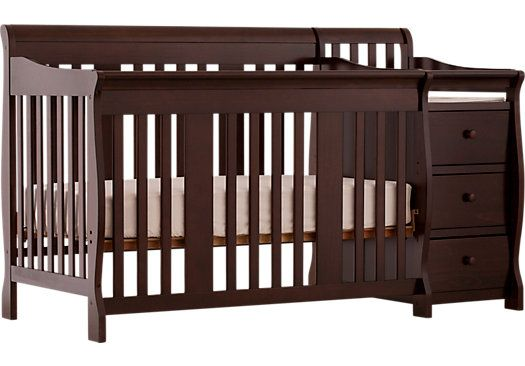 Portofino Espresso Crib And Changer Combo Convertible Crib Crib With Changing Table Cribs