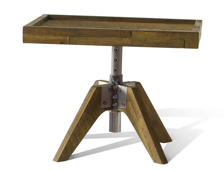 Höhenverstellbarer Nachttisch aus robustem Akazienholz Betten - schlafzimmer eiche massiv