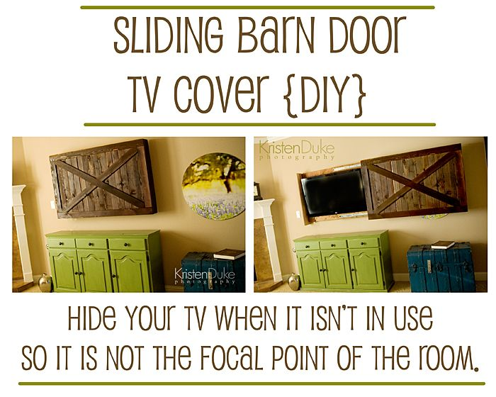 Sliding barn door TV cover {DIY}...if I am ever as awesome as @Kristen Duke I will make this.