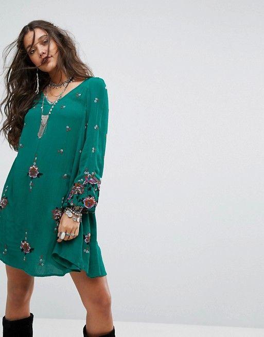 cd2ece4e328e Free People Oxford Embroidered Mini Dress | free people | Green long ...