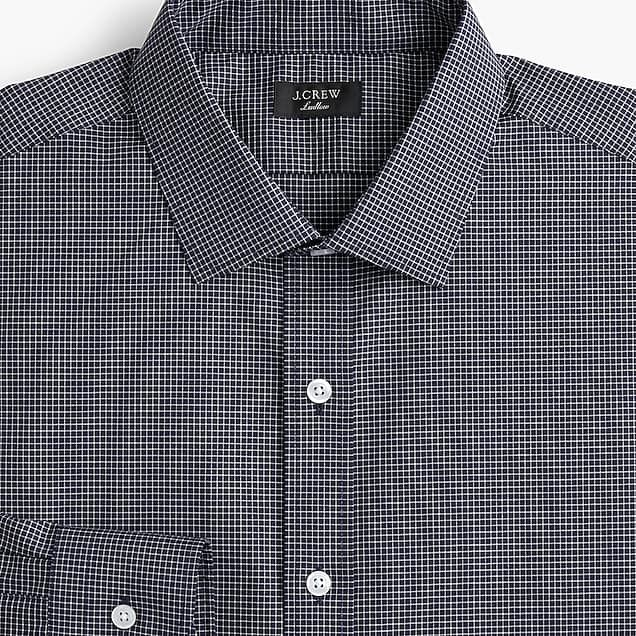 f0475ff6c3d5 men's ludlow stretch two-ply easy-care cotton dress shirt in microcheck -  men's pressed shirts