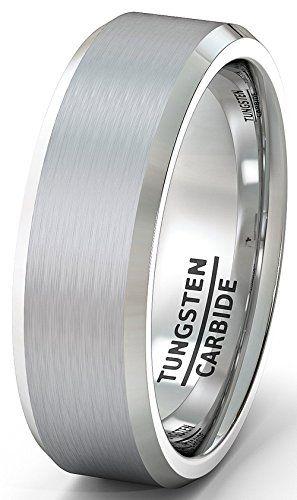 Mens Wedding Band 8mm White Brushed Tungsten Ring Beveled…