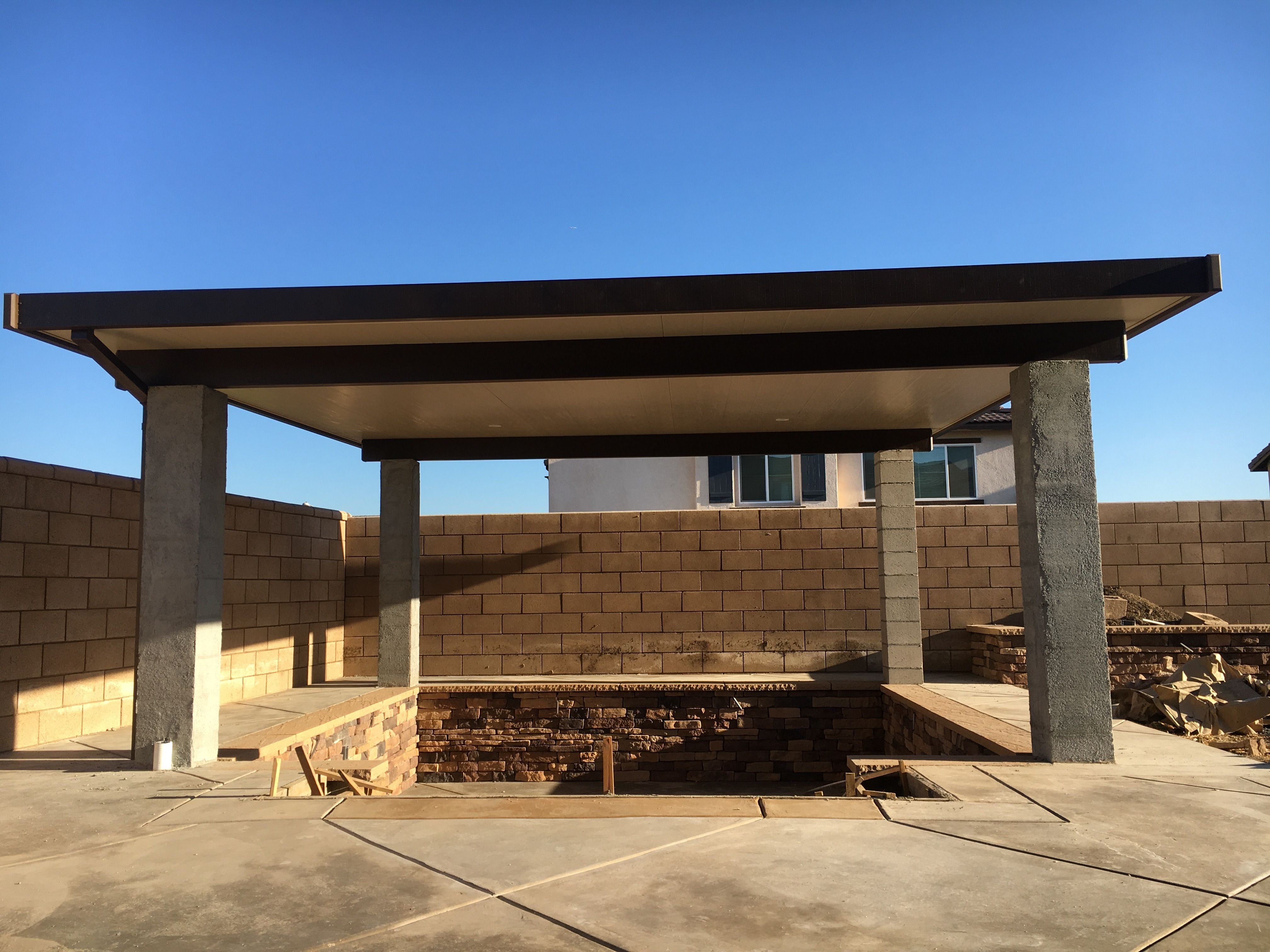 Alumawood Patio Cover. Freestanding. Recessed Lighting. 3 ...
