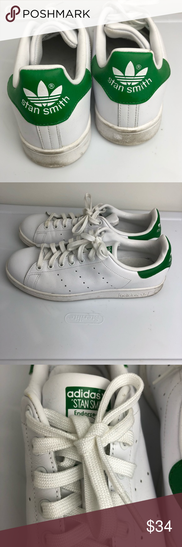 Adidas Stan Smith Men 8.5 white Green  079fe1129755