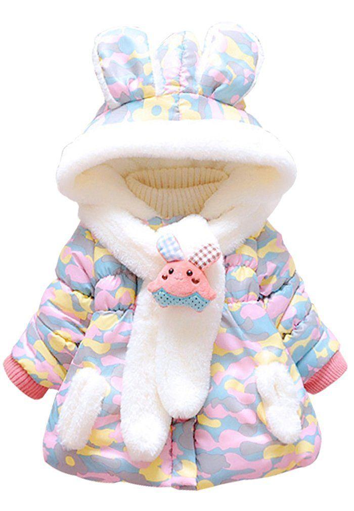 da8130b8a5e6 Baby Girls Rabbit Cartoon Hooded Warm Winter Snowsuit Coat Outwear ...