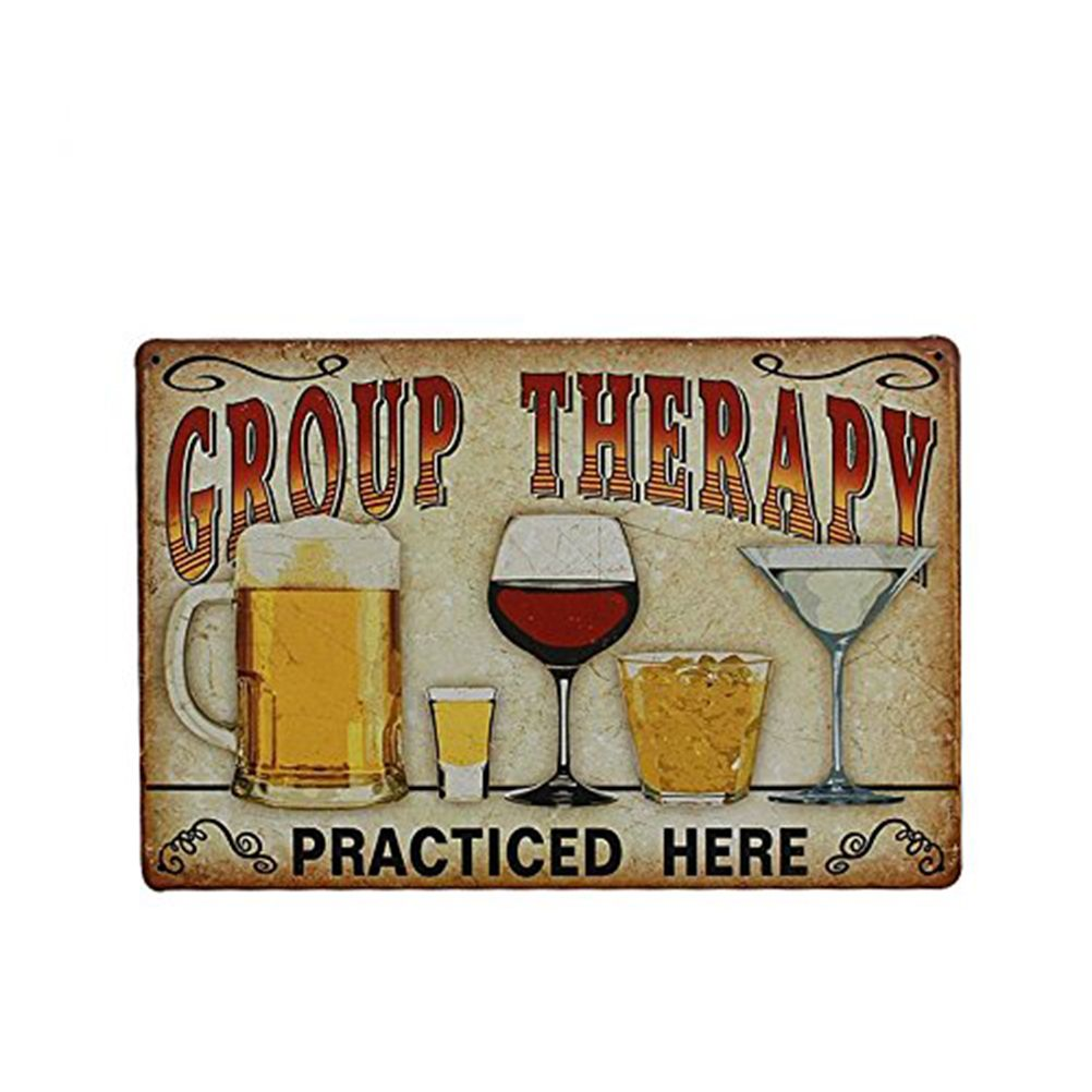"Tin Wall Plaques Group Therapy Practiced Here"" Vintage Metal Tin Wall Sign Plaque"