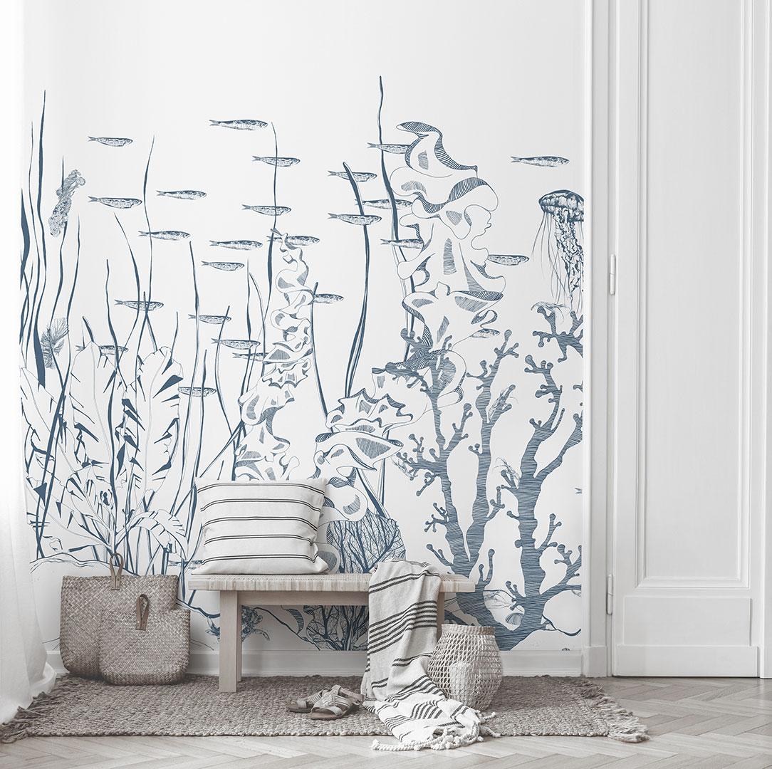 Papier Peint Deco Marine papier peint panoramique sur-mesure underwater représentant