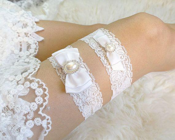 Romantic Ivory White Lace Pearl Bow Garter Set Elegance Bridal Honeymoon Wedding Lingerie Keepsake Toss