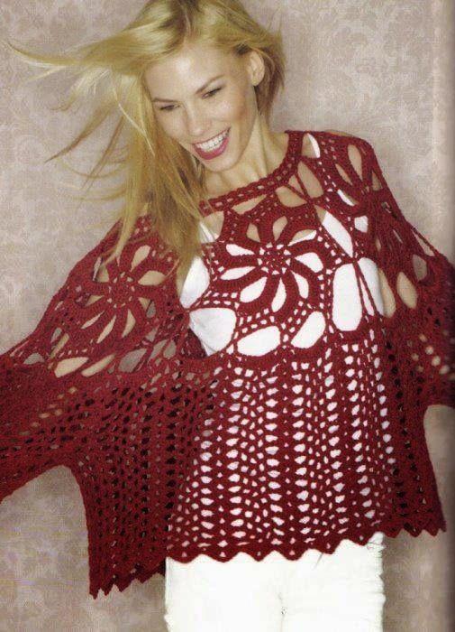 moldes y patrones de túnica crochet   Poleras, blusas, túnicas M/C ...