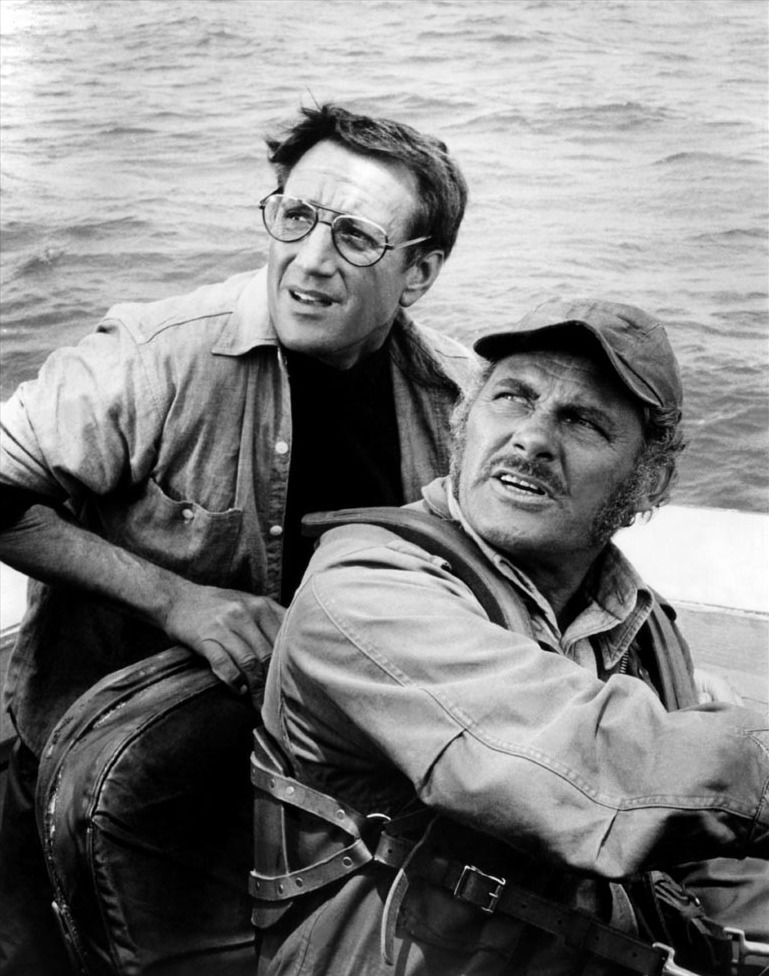 robert shaw and roy scheider in jaws directed by steven