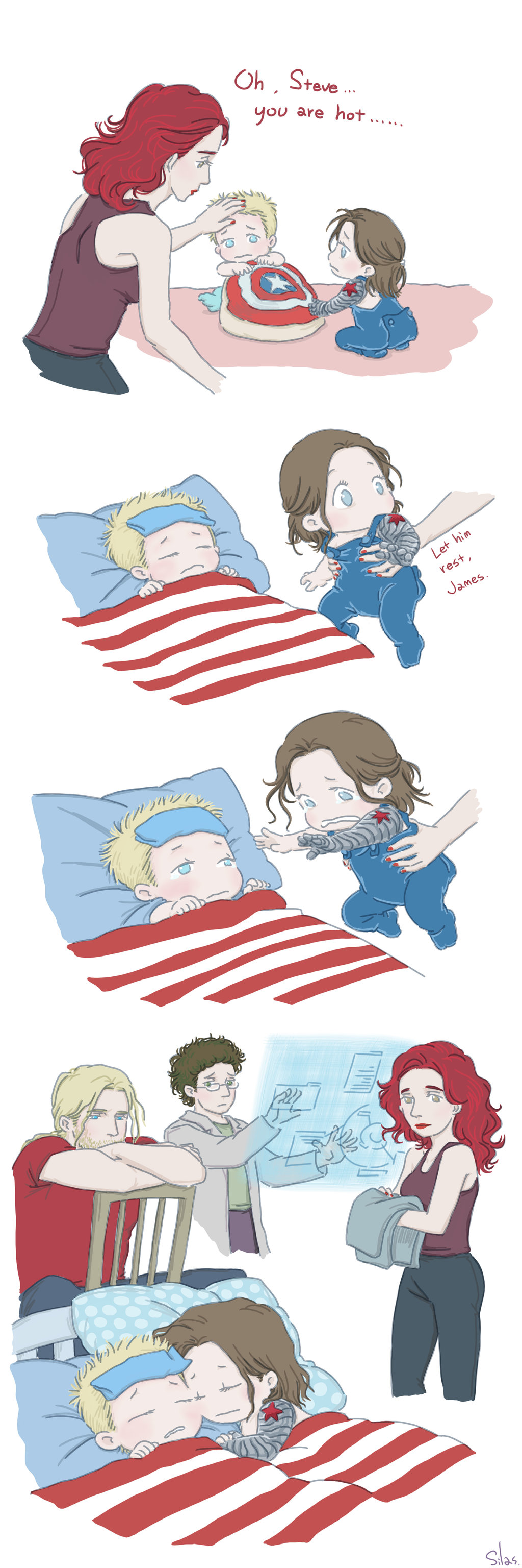 Steve and Bucky babies: Sick by SilasSamle | Too Cutie | Marvel