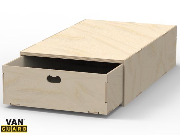 Rearward Opening Single Large Drawer For Creating Van False Floor Storage Systems By Guard