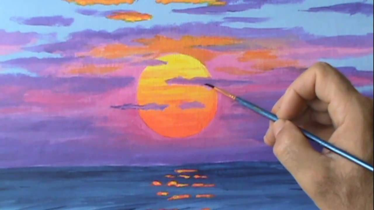 Pittura Acrilica Video How To Paint A Red Sun At Sunset Using Acrylic Paint On Canvas