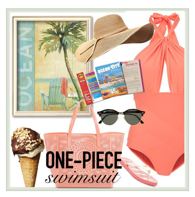 """one -piece swimsuit"" by mk-ps-catz ❤ liked on Polyvore featuring Lilliput & Felix, Tory Burch, Ray-Ban, Merona and onepieceswimsuit"