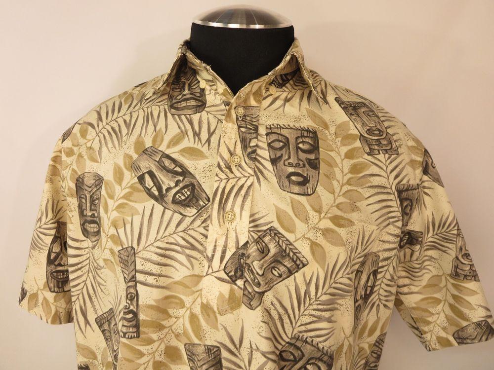 Reyn Spooner Men's Tan Brown TIKI Mask Pullover Hawaiian Shirt, SZ ...