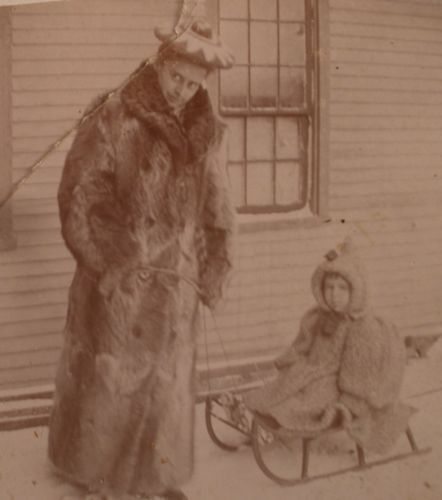 Cabinet Photo of A Child on A Sled Wearing Fur | eBay