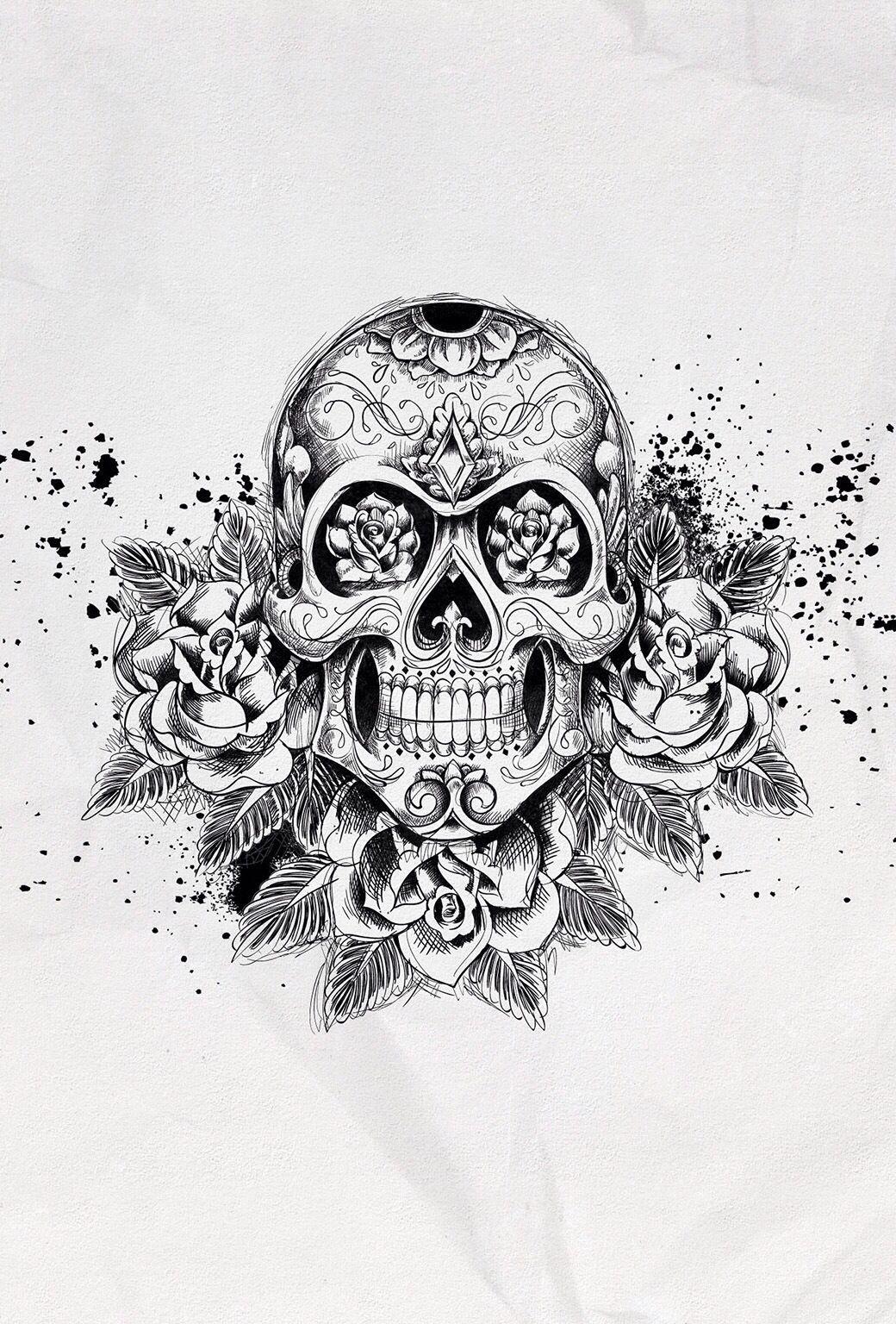 Black And White Skull Rose Tattoos Sugar Skull Tattoos Skull