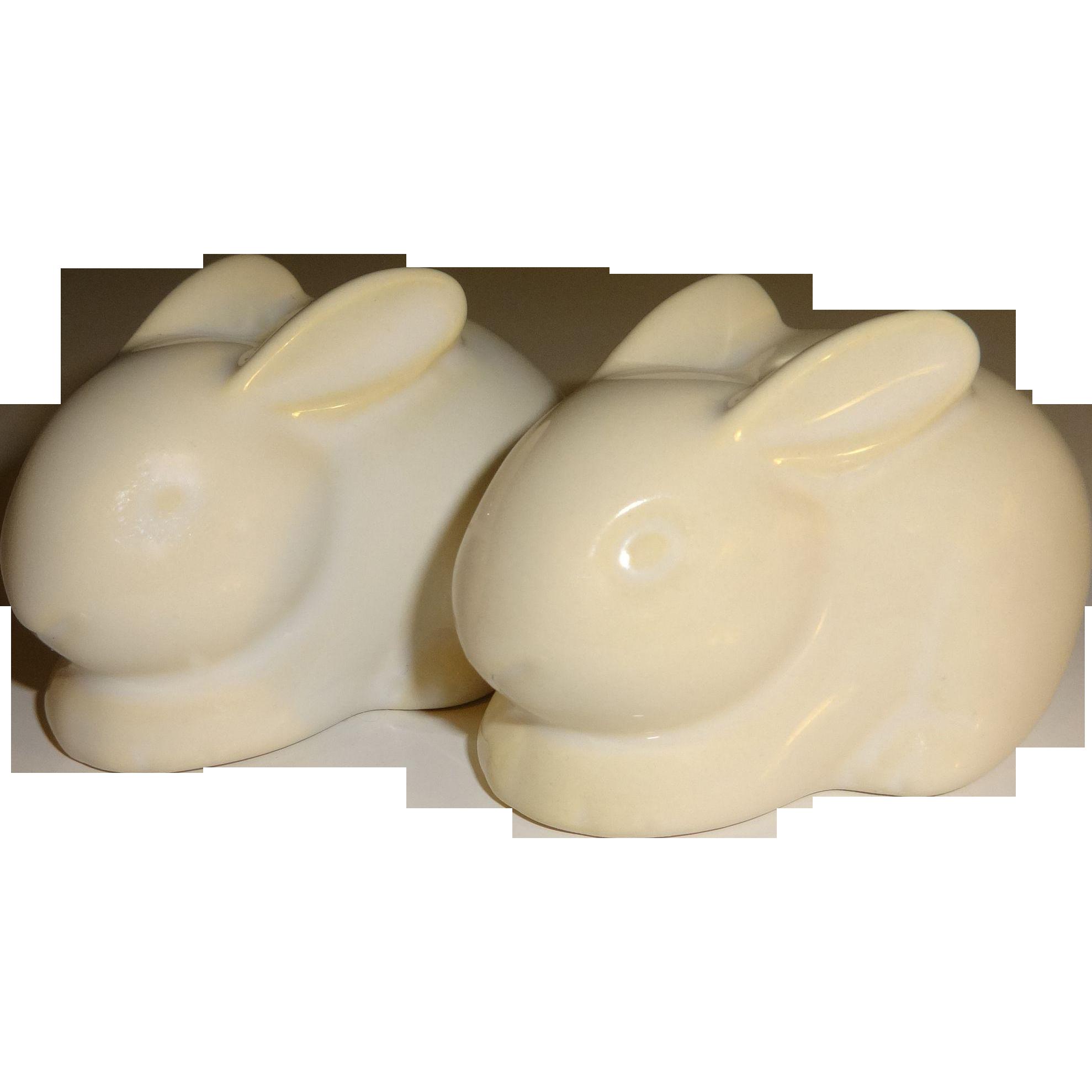 Hallmark White Bunnies Salt and Pepper Shakers
