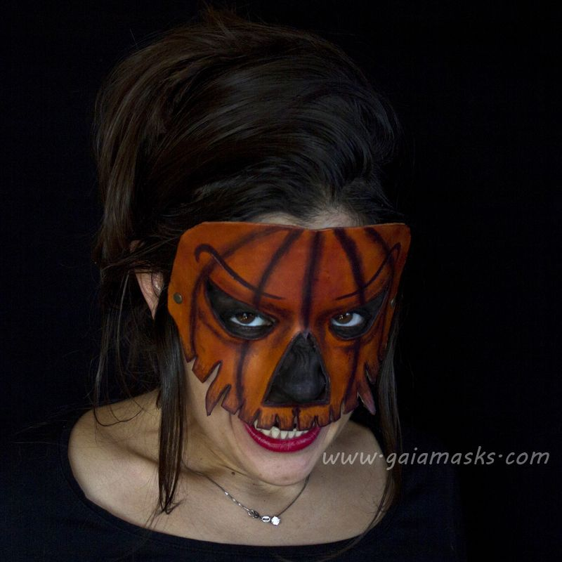 Zucche Di Halloween Terrificanti.Jack O Lantern Leather Mask Handmade Carnival Halloween