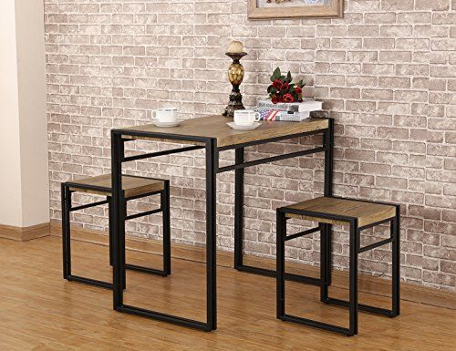 Versatile This 3 Piece Dining Set Provides A Space Saving Dining Solution For Small Kit Small Kitchen Table Sets Kitchen Table Settings Small Kitchen Tables