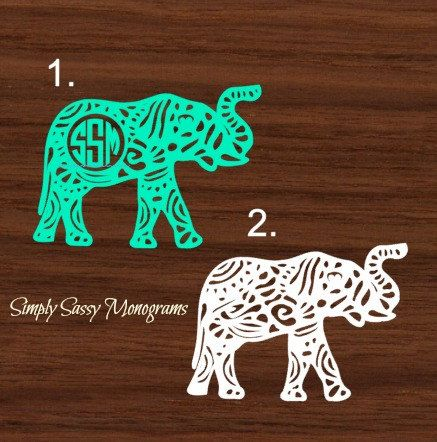Monogram Aztec Elephant Decal Monogram Car Decal Car Decal - Elephant monogram car decal