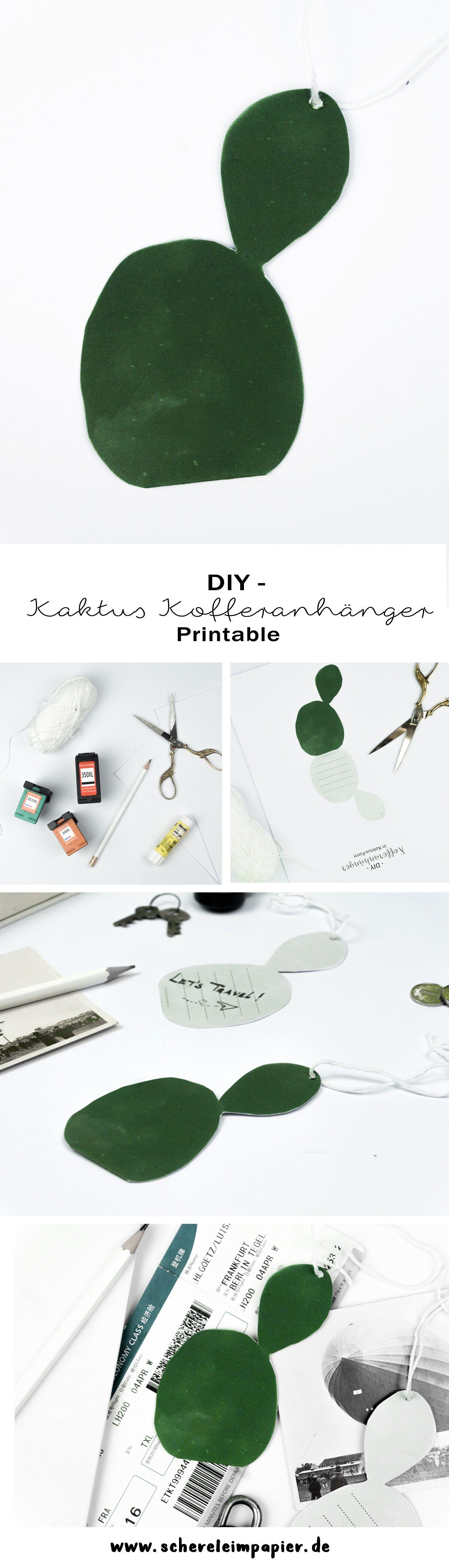 diy kaktus kofferanh nger zum ausdrucken get crafty ausdrucken basteln und papier. Black Bedroom Furniture Sets. Home Design Ideas