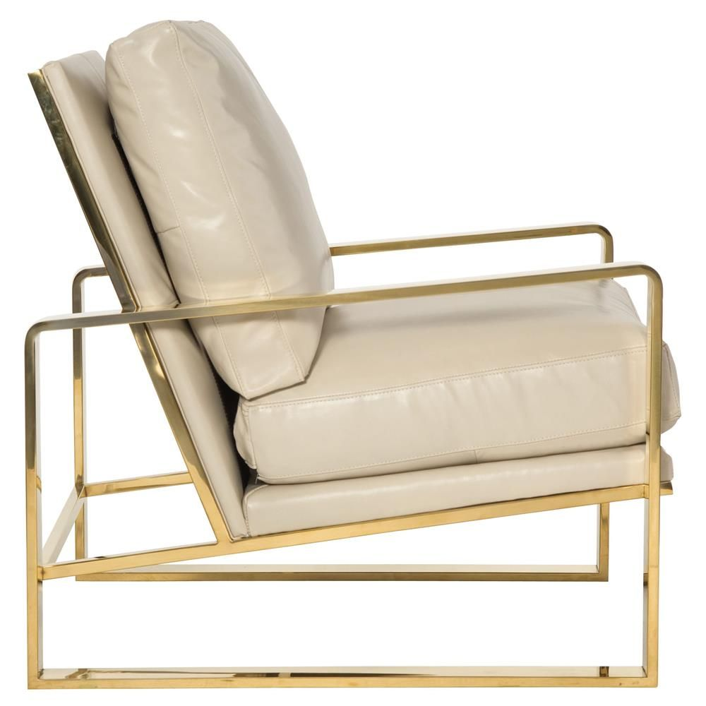 White Leather Sofa And Chair: Brea Hollywood Regency Cream Leather Gold Metal Armchair