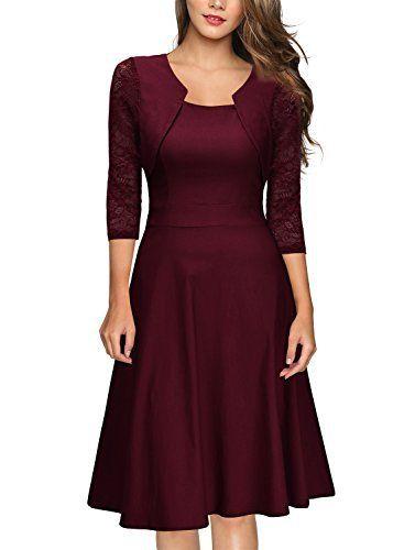 2a5481f6845 Miusol Femmes 1950s Vintage Retro Contre Lace Swing Robe Vin Rouge XXL-44   Tweet certains materiaux flexibles pourrait etre plus durable et…
