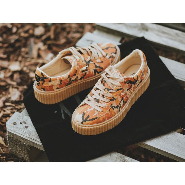 1bd13b2a7e5b Women s shoes sneakers Puma Suede Creepers Orange Camo Fenty Rihanna...  ( 155) ❤ liked on Polyvore featuring shoes
