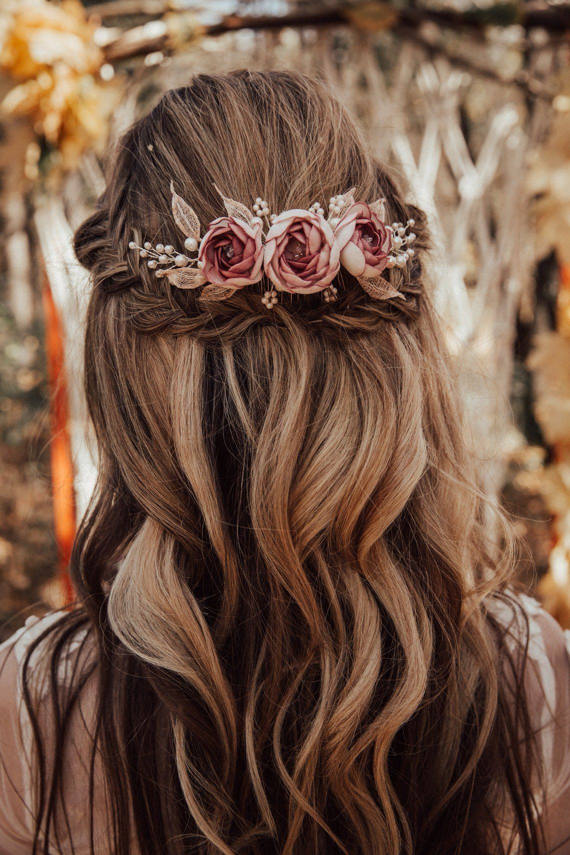 Boho bridal hair comb with handcrafted dusty pink flower and | Etsy