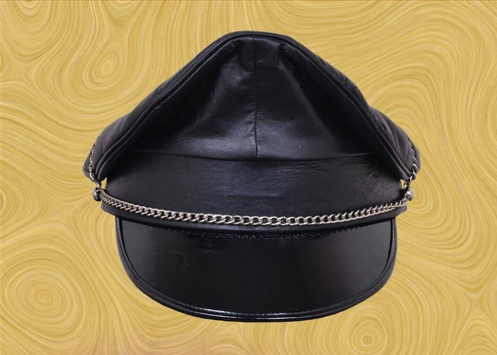 6698ea44ea0b26 Genuine Leather Black Army Muir Biker Peaked Police Gay Military Cap With  Chain | eBay