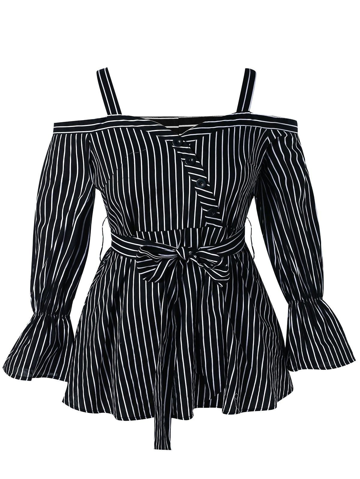 7c35fba8d2c Plus Size Open Shoulder Striped Peplum Blouse Have you prepared a present  for Monther s day
