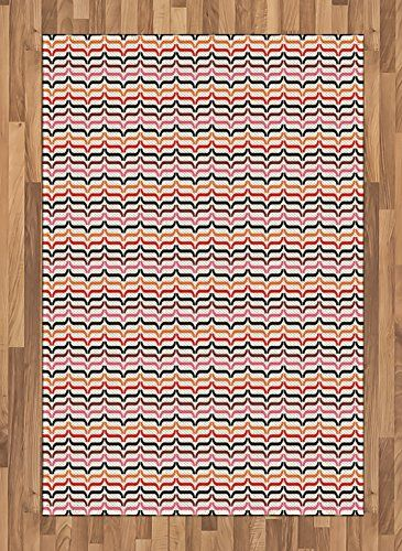 Retro Area Rug by Ambesonne, Optical Illusion Inspired Old Fashion ...