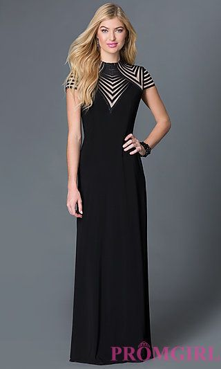 faad3c1793 Illusion High Neck Cap Sleeve Black Dress by Betsy and Adam at PromGirl.com