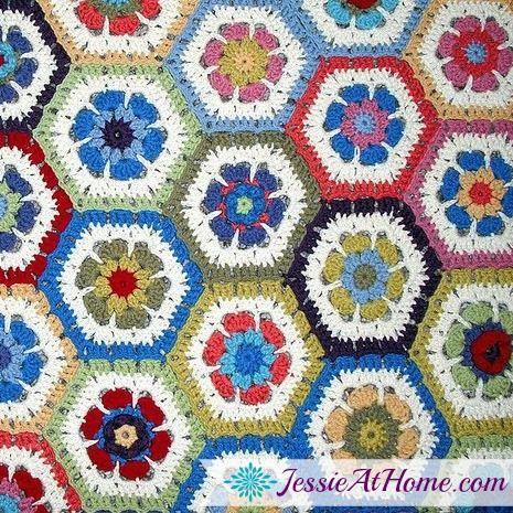 Flower Hexagon Granny How-To | Manta, Crochet patrones y Colchas