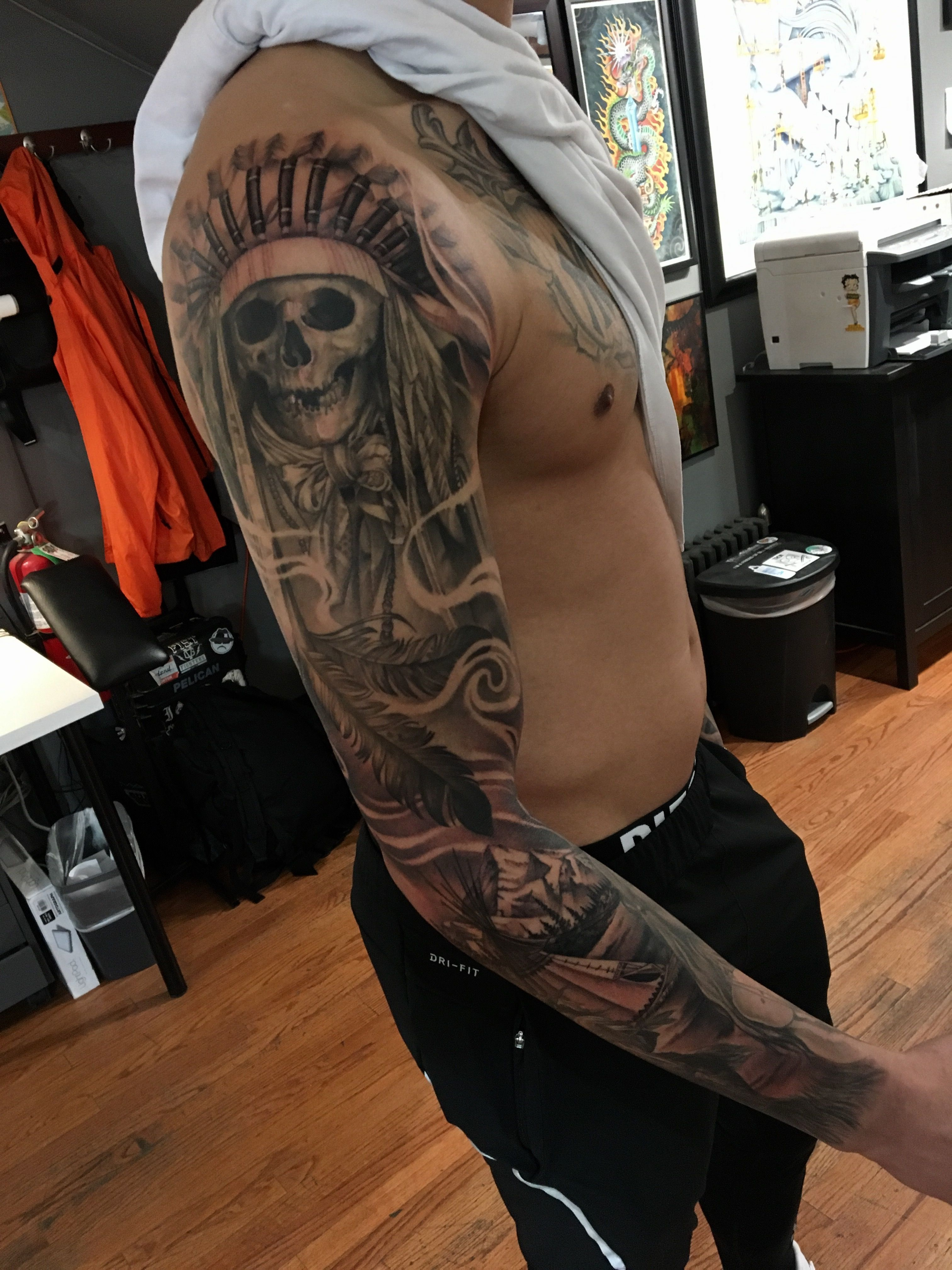 Native American Sleeve By Marco Vergel Nativeamerican Indian