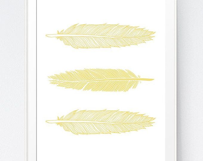 Grey Gray Yellow Feather Print, Mustard and Gray Feather Art, Gold ...