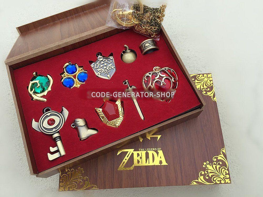 Zelda Ring Sword Shield Hollow Heart Necklace Pendant Box