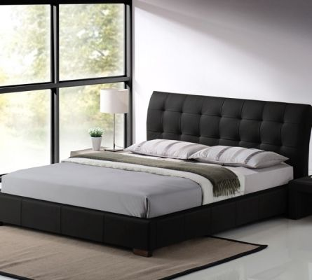 Boston Leather King Size Bed In Black Colour Bed Frame Design