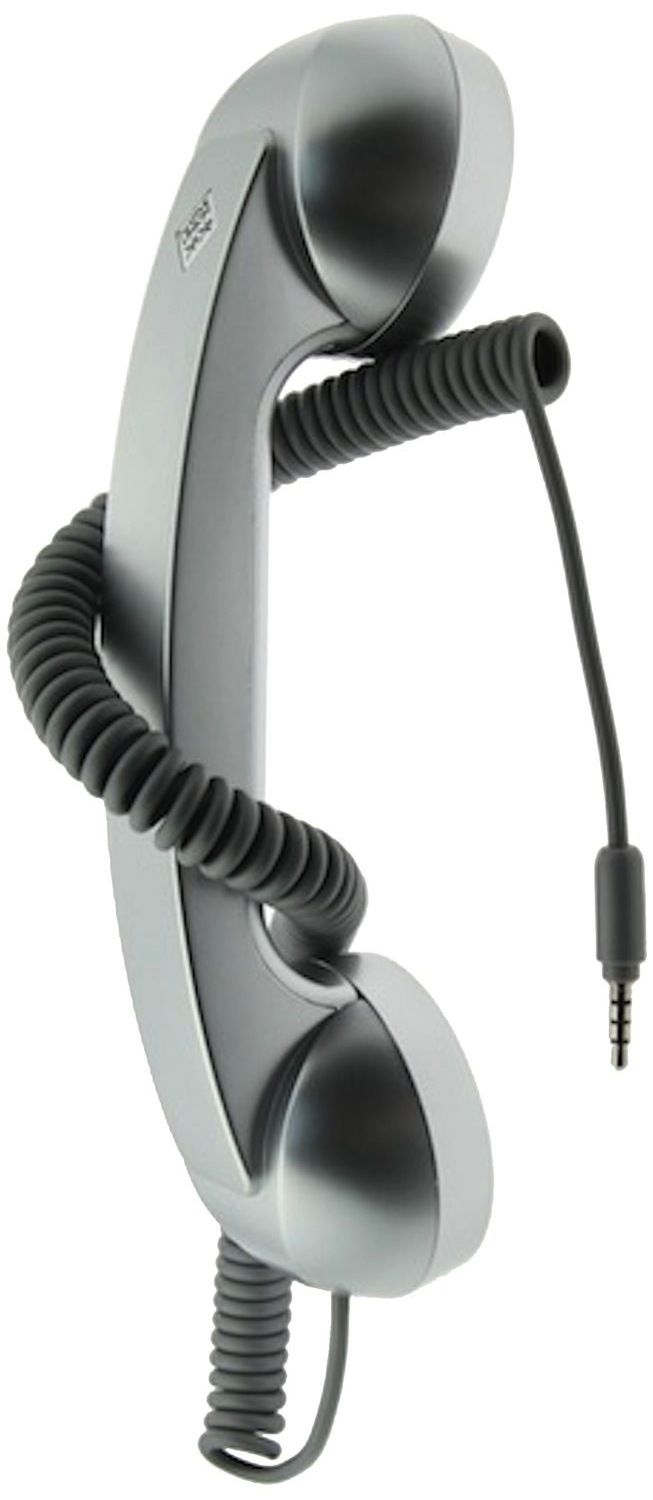 our SILVER POP PHONE HEADSET  allows talking on the phone the old-fashioned style Works with cellular calls and Skype / VoIP calls Answer/end button and volume control (for phones that support this feature) Soft-touch rubberized matte finish handset Compatible with cell phones, smartphones, iPad and tablet device that's equipped with a standard 3.5mm headphone jack.