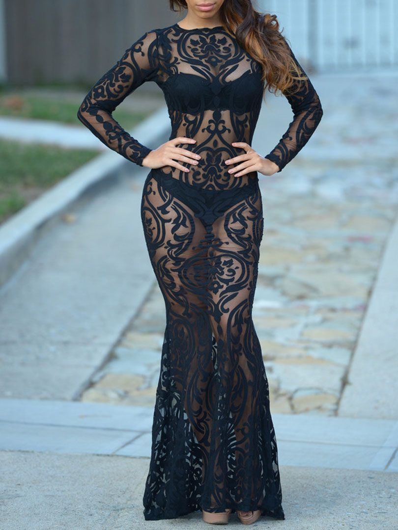 Black sheer lace long sleeve maxi dress fancy dresses bridal