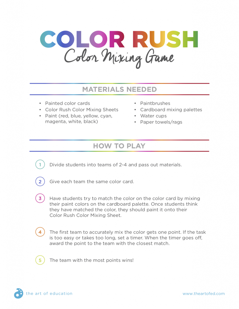 The Best Color Mixing Game to Play With Your Students | Color wheels