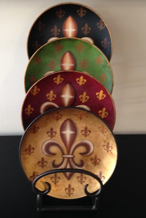 Tuscan 8 Inch Decorative Plate Set with Fleur-De-Lis Accents : 4 inch decorative plates - pezcame.com