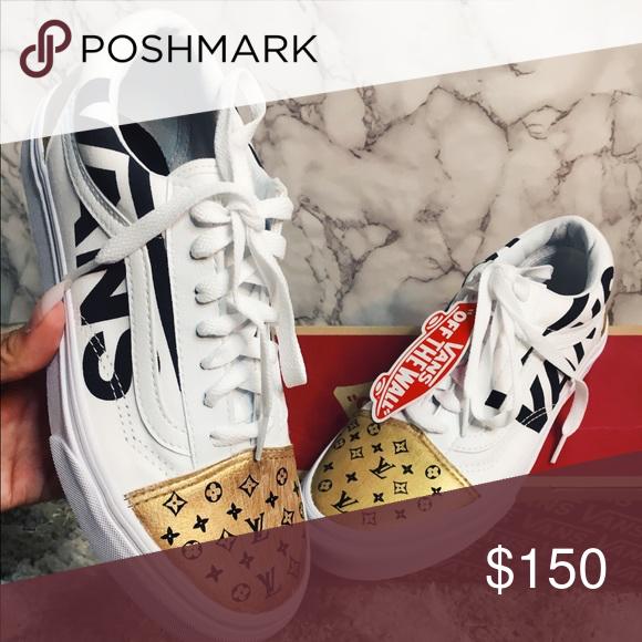da7b109af69a5 Vans x LV Custom made ✨ Super dope shoes 👟 Size 7 in women's Shoes ...
