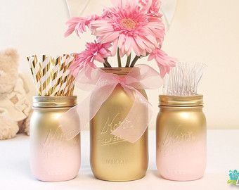Baby Shower Centerpiece Painted Mason Jars Decor Par BeachBluesBaby