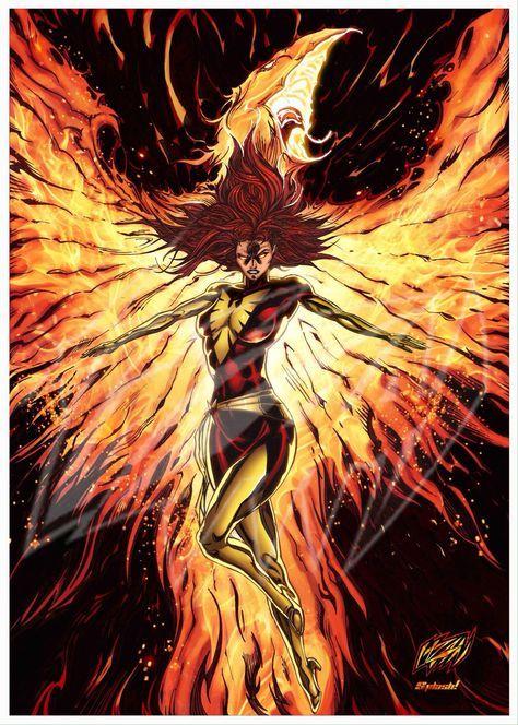 Dark Phoenix , Original Fan Art Color Print and Poster