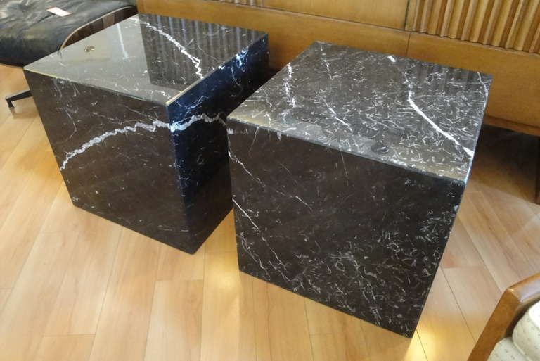Pair Of Marble Cube End Tables